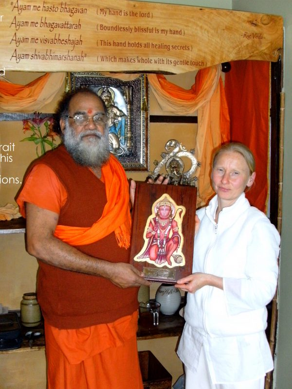 The sweet irony of being an anglo female commissioned to paint Hanuman for Guru Balachandran Nair from Kerala, India, 2008