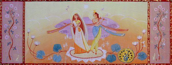 Radhe Krishna - preparatory drawing for mural